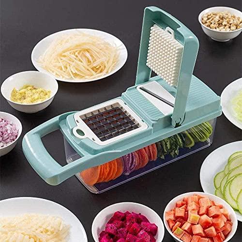 Trituradora de verduras y máquina de dados 8 en 1 trituradora de cebolla de patatas y frutas y queso, herramienta de cocina ajustable con hoja multiusos con contenedor de almacenamiento