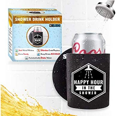 Sheer Shower Drink Holder Extra Sturdy Stays Clean Easy Grab Replace Design Drains Water Keep product image
