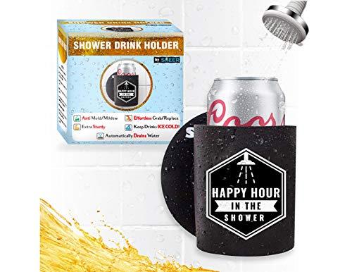 Sheer – Soporte para Cerveza de Ducha Koozie – Extra Resistente – se Mantiene Limpio (Anti Molde), sin Esfuerzo/diseño de reemplazo, drena el Agua – Mantiene la Cerveza o el Hielo frío