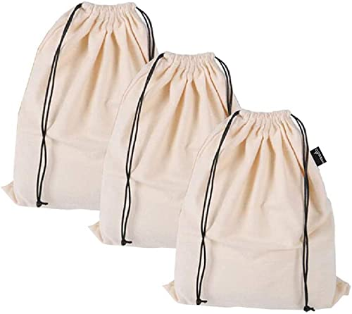 MISSLO Set of 3 Cotton Breathable Dust-Proof Drawstring Storage Pouch Multi-Functional Bag (Beige, Pack 3 S)