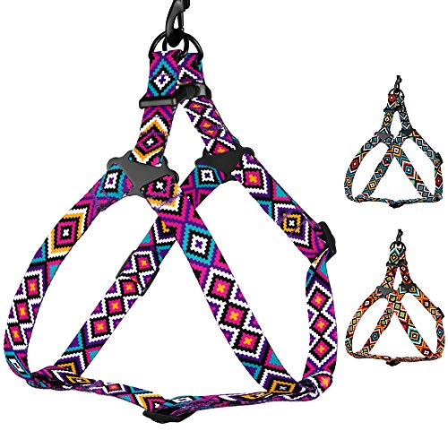 CollarDirect Adjustable Dog Harness Aztec Pattern Tribal Design Pet Step-in Vintage Comfortable Harnesses for Dogs Small Medium Large Puppy (Tribal Magenta, Small)
