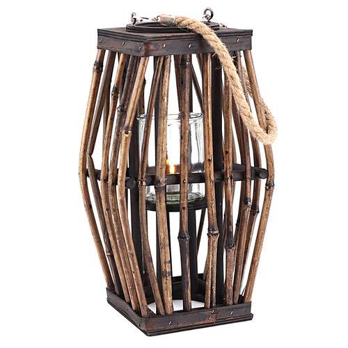 Laterne Bambus mit Glas- Windlicht, braun Höhe ca. 33cm