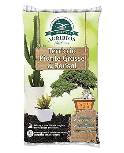 AGRIBIOS TERRICCIO Piante GRASSE & Bonsai 10 LT Miscela con Torba Naturale Argilla pomice