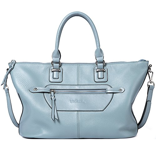 BOSTANTEN Genuine Soft Leather Handbags for Women Tote Shoulder Purse Crossbody Bags Light Blue