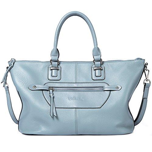 BOSTANTEN Damen Leder Schultertasche Handtaschen Umhängetasche Designer Henkeltaschen Tote Bag Blau