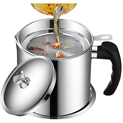 ZNEU Filtro de Aceite, Acero Inoxidable Recipiente de Grasa en Lata,pote de Lata con Filtro de Malla Fina, Adecuado para almacenar Aceite de fritura y Grasa de Cocina