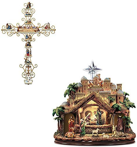 YILUXIANG 2PCS Pegatinas de la Pared Crucifijo, The Life of Christ Collection Display Cross Sticker, Wall Decal Religious Bible Accessories for Christian Gifts (B(20*30) CM)