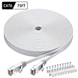 Cat6 Ethernet Cable 75 FT White, BUSOHE Cat-6 Flat RJ45 Computer Internet LAN Network Ethernet Patch Cable Cord - 75 Feet