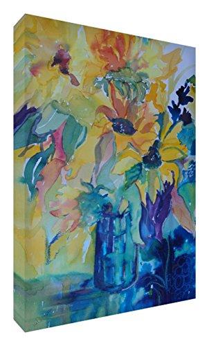 Feel Good Art VJ-SUNSHINEBOUQUET1216-15IT zonnebloemen op een lichte, zonnige dag afbeelding op canvas, origineel gestileerde schilderijen, kunstenaar Val Johnson