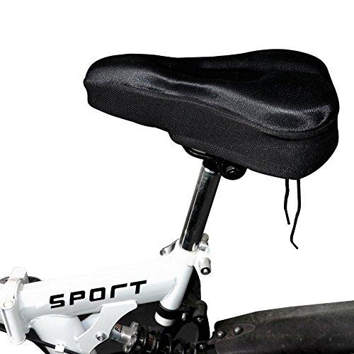 Coprisella Bici Morbido con 3D Gel Silicone Extra Comfort, per Bicicletta City Bike Mountain Bike, Coprisella Cyclette Gel con Copertura Impermeabile e Antipolvere, Nero