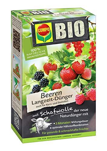 COMPO BIO Beeren Langzeit-Dünger für alle Beerenpflanzen, Kern- und Steinobst, 5 Monate Langzeitwirkung, 750 g