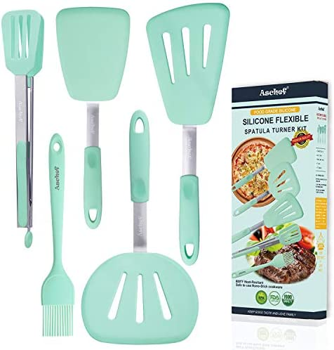5in1 Silicone Flexible Turner Spatula Set Stainless Steel Slotted Heat Resistant Rubber Non product image