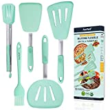 5in1 Silicone Flexible Turner Spatula Set, Stainless Steel Slotted Heat-Resistant Rubber Non-Stick...