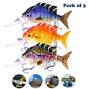 Meykers Fishing Lures for Bass Trout Walleye- Swimbaits Topwater Saltwater Freshwater Artificial Multi Jointed Segment Minnow Lifelike Treble Hook Hard Crank Bait Tackle 4 Inch Pack of 3 Kits