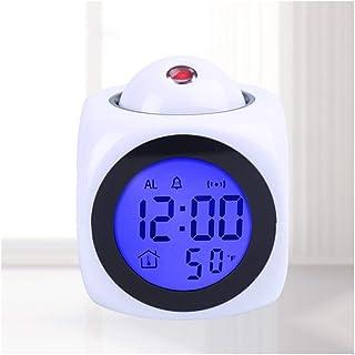 目覚まし時計プロジェクション天井スヌーズナイトライトバックライト音声温度表示ホーム寝室ベッドサイド旅行ポータブル Brwzjlizn (Color : A, Size : 10cm*8cm)