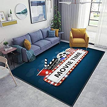 Cinema Background Concept Movie Theater Object on Blue Background and Area Rugs Non-Slip Floor Mat Doormats Home Runner Rug Carpet for Bedroom Indoor Outdoor Kids Play Mat Nursery Throw Rugs Yoga Mat