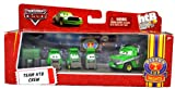 """Mattel Disney Pixar Movie 'The World of Cars' Exclusive Piston Cup Nights Series 4 Pack Die Cast Car Set # R5876 - Green Chick Hicks TEAM HTB CREW (Hostile Takeover Bank) with Crew Chief """"Bruiser Bukowski', 2 Thin Pitty and Wide Pitty Plus Tool Box and Tires"""