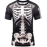 XIUMU骸骨 Tシャツ スケルトン 風 おもしろ 3D 骨 レントゲン コスプレ 仮装 衣装 コスチューム パーティー イベント 余興 グッズ メンズ