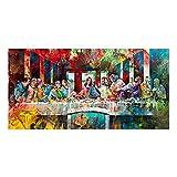 Rumlly Famoso Pintor Leonardo Da Vinci Última Cena Graffiti Poster Arte clásico Mural de Pared Living Bed Room Decoración Pintura 60x120cm Sin Marco
