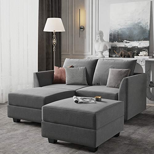 HONBAY Convertible Sectional Sofa with Chaise Modern L Shape Couch with Ottoman, Modular Sofa Couch for Small Space, Grey