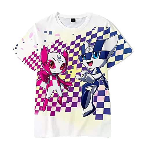 2020東京オリンピックサポーターTシャツ、ユニセックスグラフィックラウンドネックコットン半袖 E-XXL