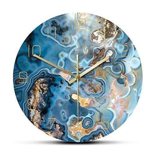 hufeng Reloj de Pared Estructura de Cristales de ónix Reloj de Pared Impreso Textura de mármol Obra de Arte Movimiento silencioso Reloj de Pared Curación metafísica Arte de Pared Reloj (No Farme)