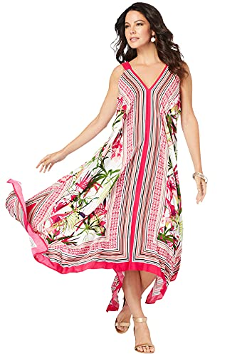 Roamans Women's Plus Size Scarf-Print Maxi Dress - 26/28, Pink Burst Tropical Border Multicolored