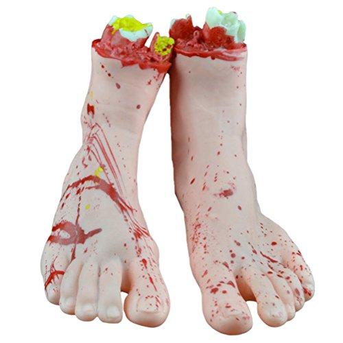 LUOEM 1 par de Piezas humanas picadas Scary Bloody Feet Halloween Party Decorations Prop Halloween April Fool\'s Day Decoración de Fiesta Infantil (White Feet)