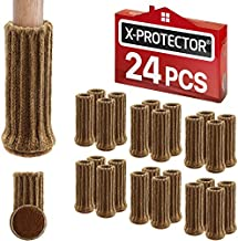 "Chair Leg Socks X-PROTECTOR – 24 PCS Furniture Socks – Chair Covers for Legs 1""-2"" - Chair Leg Floor Protectors – Brown Hardwood Floor Protectors – Knitted Chair Feet Socks – Shape Doesn't Matter!"