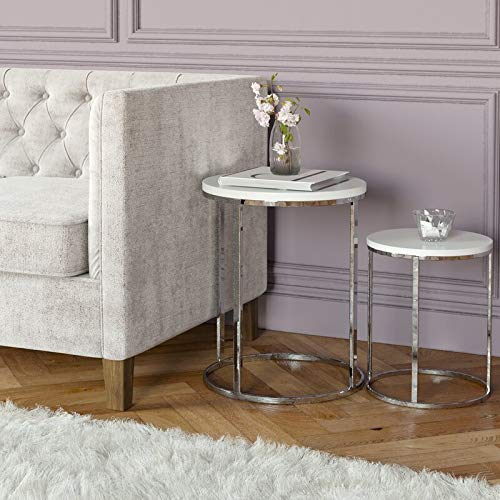 Biznest Norsk Nest Of 2 Tables Chrome Legs With White High Gloss Top Round