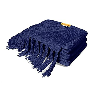 DOZZZ Summer Chenille Couch Throw with Decorative Fringe Lightweight Cover for Sofa Chair Bed Furniture Navy Blue Gift Blanket