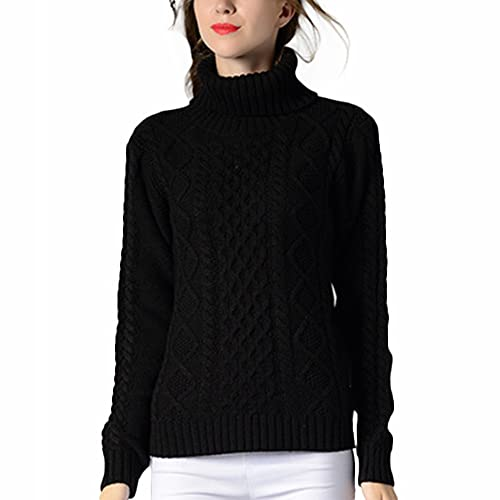 7e026fe28 VERYCO Women Turtle Polo Neck Chunky Cable Knit Long Sleeve Pullover Jumper  Sweater Tops