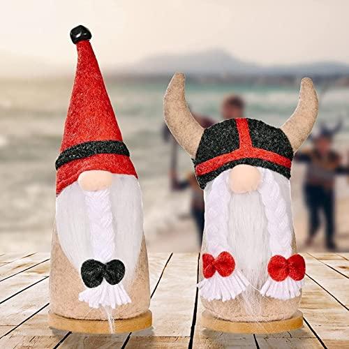 dh-15 2 Stück Halloween Dekorationen, Piraten Wikinger Gartenzwerge gesichtslose Puppe, roter Herbst handgemachter Zwerg für Party Geburtstag