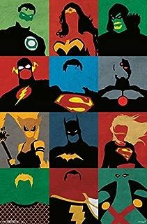 Justice League - Minimalist 34x22.5 Comic Art Poster Print DC Comics Aquaman, Batman, the Flash, Green Lantern, the Martian Manhunter, Superman, and Wonder Woman