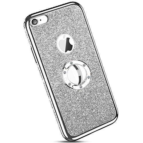 Ysimee kompatibel mit iPhone 6 /iPhone 6S Hülle, Bling Schutzhülle Glänzend Weiche TPU Silikon HandyHülle Bumper Case mit Ring 360 Grad Ständer, Diamant Glitzer Case, Silber
