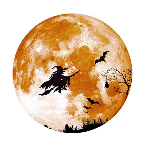 Leeafly Abnehmbare 3D Kreative Luminous Moon Wandaufkleber Halloween Dekoration Aufkleber Besen Hexe Wandtattoo für Schaufenster, Möbel Wand-Dekor Fensterdekoration (M, Gelb)