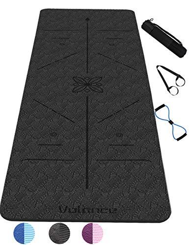 Tapis de Yoga Antidérapant, avec Lignes d'alignement du Corps en TPE Matériaux Tapis Yoga Durable Tapis de Yoga et Antidérapant Anti-Transpiration avec Sangle et Sac 183 * 61 * 0,6 cm-Yoga Mat (noir)
