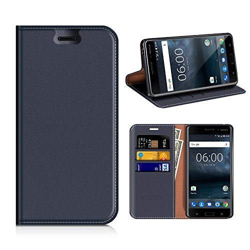 MOBESV Nokia 6 Hülle Leder, Nokia 6 Tasche Lederhülle/Wallet Hülle/Ledertasche Handyhülle/Schutzhülle mit Kartenfach für Nokia 6 - Dunkel Blau
