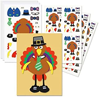 Design Your Own Turkey Thanksgiving Stickers - Set of 36 Sheets, Great for Classrooms, Roadtrips