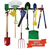 Upside Out Garden Tool Organizer- Garage Tool Organizer Wall Mount- Tool Racks for Garage Walls- Heavy Duty Tool Storage Rack Includes 2 Mounts, 7 Adjustable Hooks and Hardware