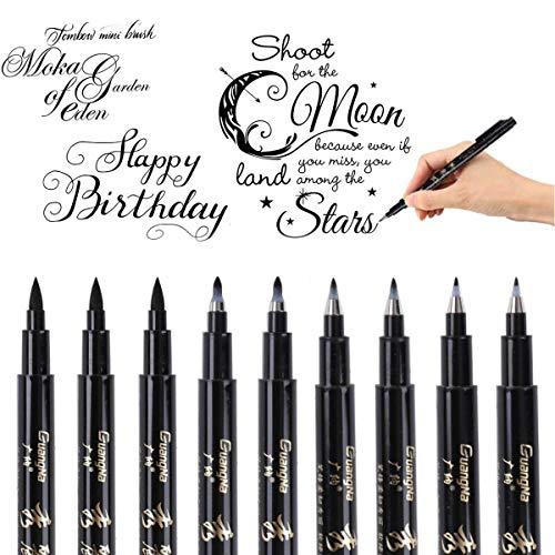 Rotuladores para caligrafía, 9 unidades, punta de pincel, para escritura, diario de principantes, firma, rotulación y diseño (4 tamaños), negro