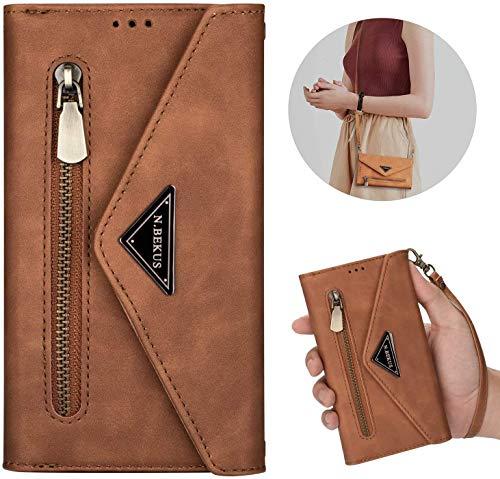 Samsung Galaxy Note 10 Plus/10 Pro Hülle Leder Tasche Brieftasche Flip Wallet Case Schutzhülle Handyhülle Reißverschluss Geldbörse Klapphülle Handytasche mit 5 Kartenfächer,Braun