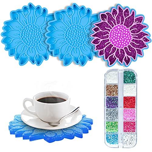 EBANKU 3 PCS Stampi per Sottobicchieri in Silicone Resina con 12 Colori Glitter, Resina Epossidica Stampi per Sottobicchieri a Forma di Fiore del Sole per Decorazioni per La casa