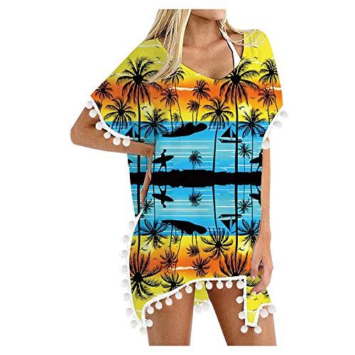ZouYiL - Vestido de playa para mujer, de gasa, para bikini, para la playa, con borlas, para verano, para la playa, suelto, estilo boho, informal, para mujer
