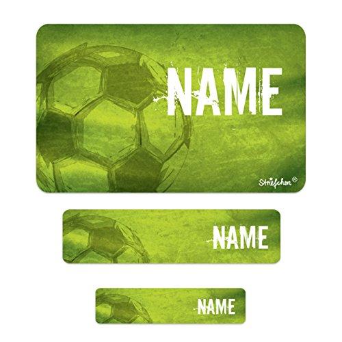 Striefchen® Schuletiketten mit Namen im 100er Pack - Fußball - ideal für das Beschriften von Heften und Büchern in der Schule