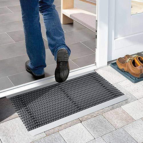 Nicoman Aluminium - Fußabstreifer für außen und innen | Fußmatte mit hoher Reinigungswirkung & attraktiver Metall Optik | Fußmatten für die Haustür