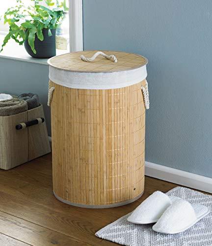 Country Club Okrągły bambusowy kosz na pranie kosz do przechowywania ubrań z pokrywką, naturalny, 35 x 35 x 50 cm