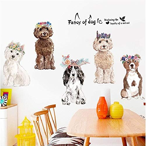 Decors Girldog Familie Dieren Stickers voor Kids Kamer Home Decoratie Muurdecoratie Decal PVC Vliegtuig Cartoon Fotobehang Deur Behang