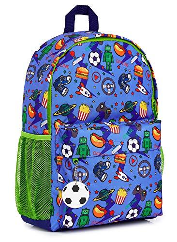 CityComfort Schulrucksack Jungen, Rucksack Kinder und Teenager für Schule Sport und Reisen, Kinderrucksack Camouflage Videospieler, Coole Schulbedarf für Schulanfang, Geschenke für Kinder (Blau)