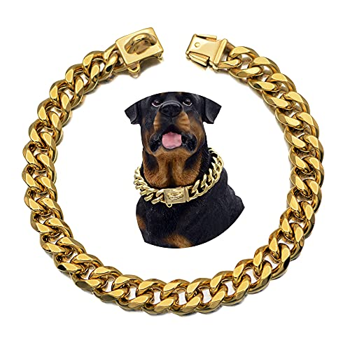 Buckle Chain Collar 19MM Thick Stainless Steel 18K Metal Cuban Chain Collar, Durable and chew-Resistant(16 inch)